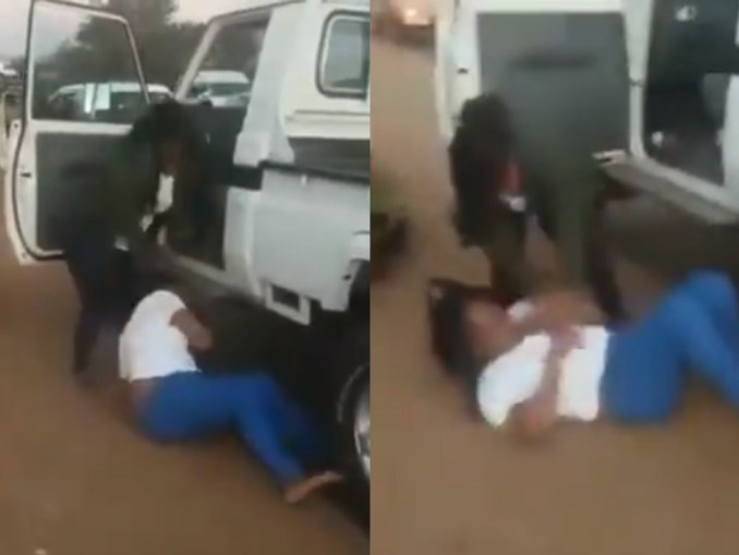 See As Angry Wife Beats Up Husband's Side Chick On The Street (Video)