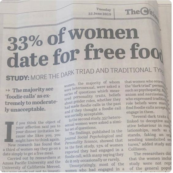 Study Claims 33% Women Go On Dates With Men To Eat Free Food