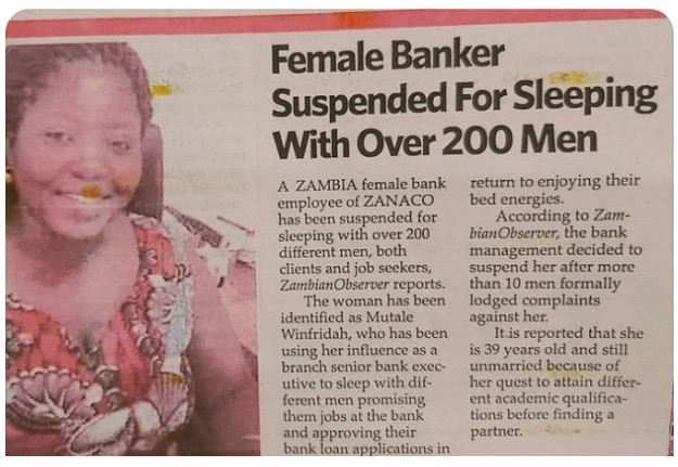 Zambian Female Banker Suspended For Sleeping With Over 200 Men