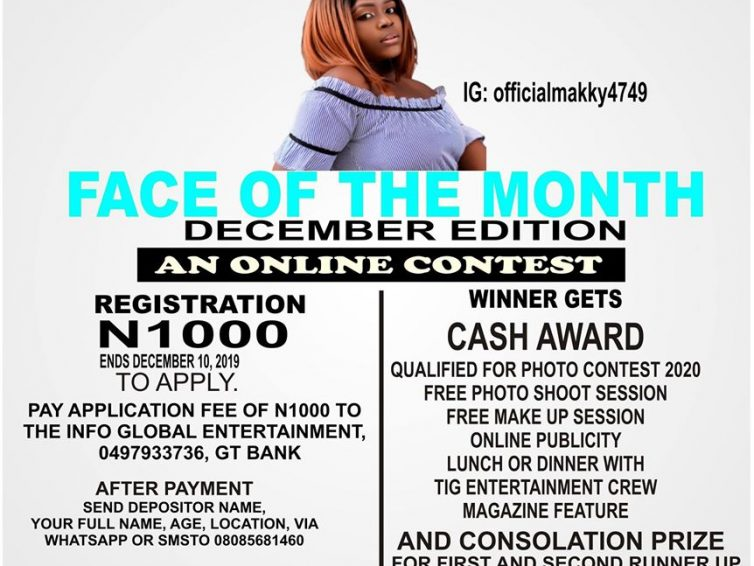 TIG Entertainment Presents Face Of The Month Online Contest